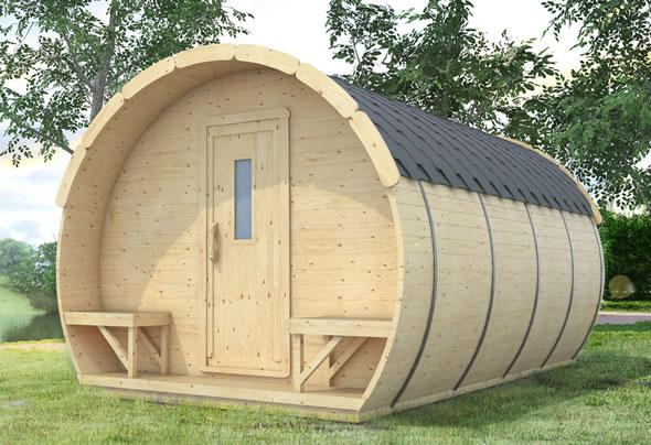 chambre tonneau espace de vie originale poser dans votre jardin. Black Bedroom Furniture Sets. Home Design Ideas